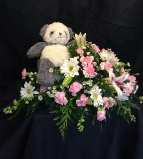 Infant casket piece with teddy