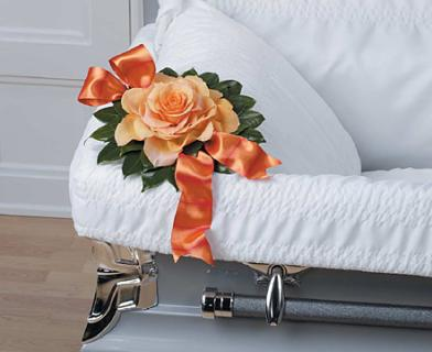Orange Flowers and Ribbon Sympathy Corner Pieces Lid Inset