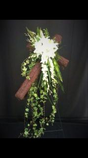 Moss Cross with Floral Spray