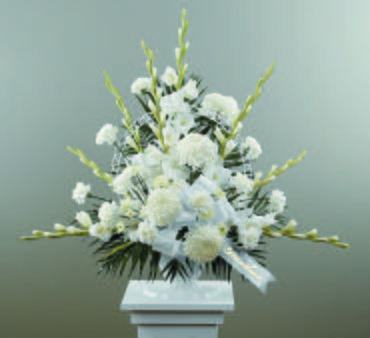 Traditional Funeral Spray with Gladiolus and Football Pompoms