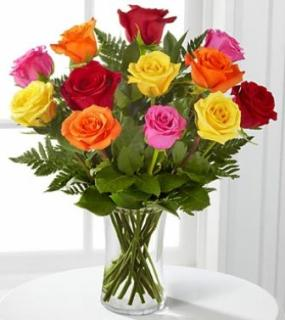 A Perfect Mixed Dozen Roses